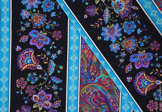 """Шитье ручной работы. Ярмарка Мастеров - ручная работа. Купить Бордюрная ткань """"Бирюзовые цветы"""". Handmade. Черный, бордюр"""