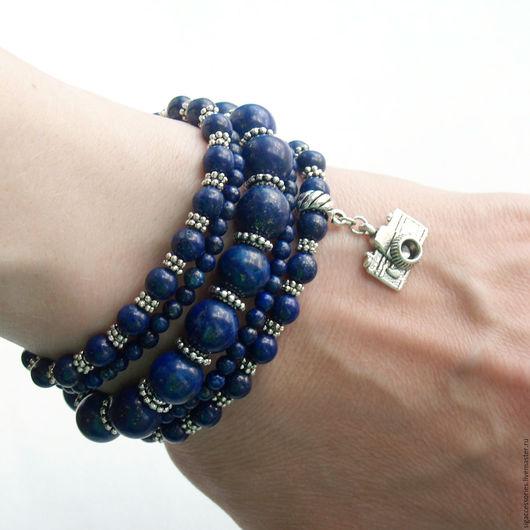 """Браслеты ручной работы. Ярмарка Мастеров - ручная работа. Купить """"Я фотограф"""" - браслет из лазурита. Handmade. Синий, подарок фотографу"""