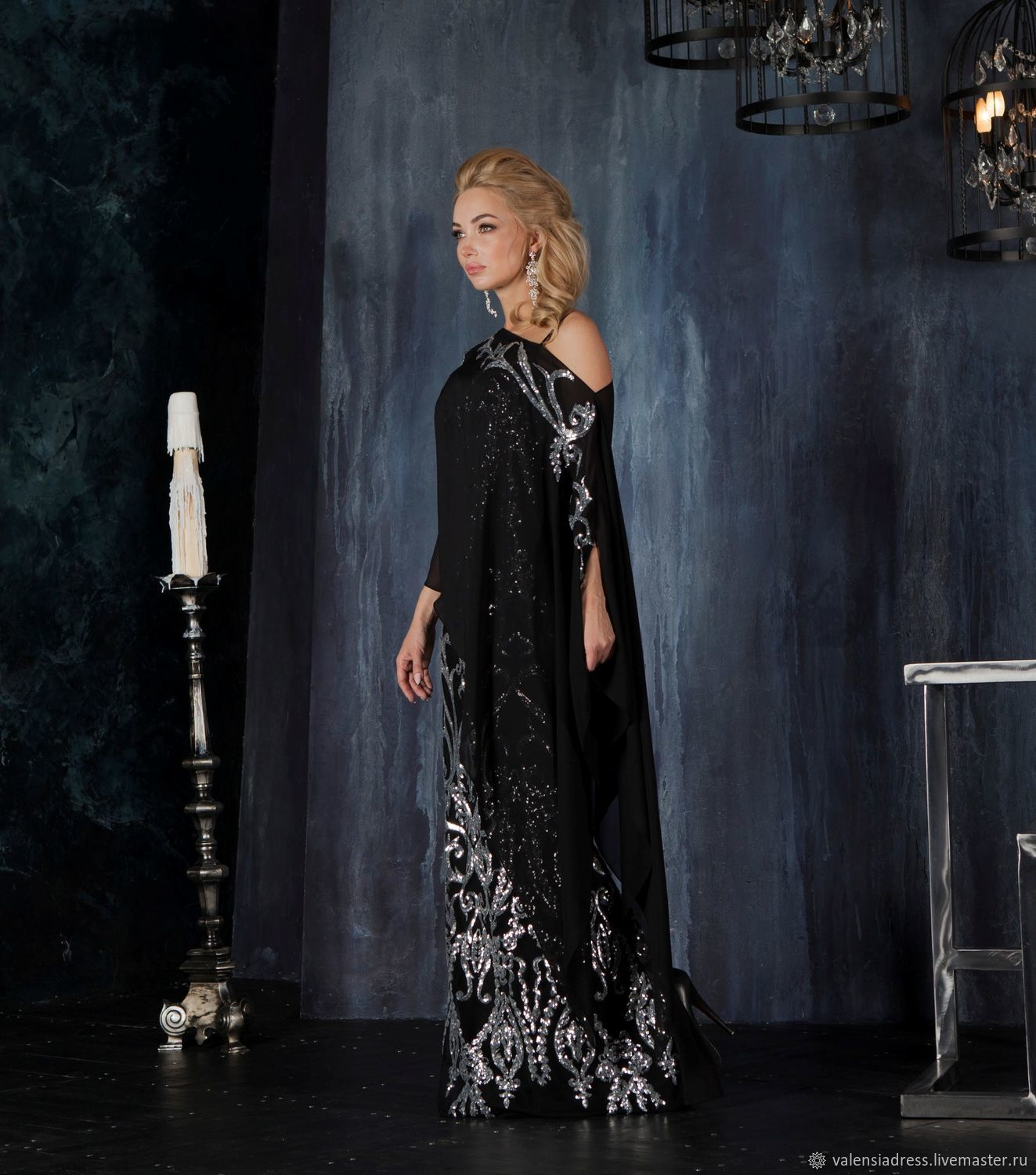 dc104af1cf5c Dresses handmade. Livemaster - handmade. Buy Evening gown black with silver.