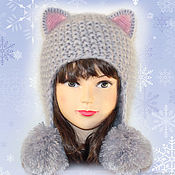 Аксессуары handmade. Livemaster - original item Hat cat ears Cat with POM-POM, grey fluffy knit women`s. Handmade.