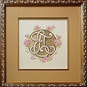 Картины и панно ручной работы. Ярмарка Мастеров - ручная работа Монограммы в розах. Handmade.