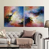 Картины и панно handmade. Livemaster - original item Abstract painting Set of two acrylic painting on canvas. Handmade.