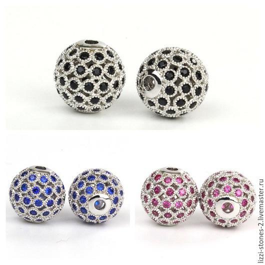 Бусина шар 10 мм с перфорацией с цветными кристаллами серебристая Евгения (Lizzi-stones-2)