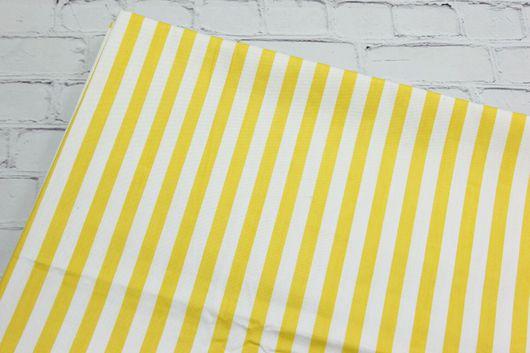 Шитье ручной работы. Ярмарка Мастеров - ручная работа. Купить Ткань хлопок Полоса желтая. Сатин. 100% Хлопок. Handmade.