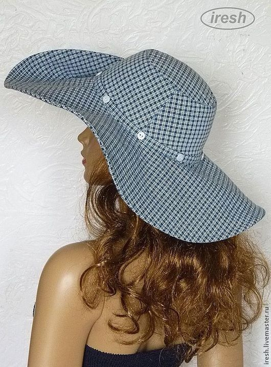 """Шляпы ручной работы. Ярмарка Мастеров - ручная работа. Купить Шляпа """"Клеточка"""" широкополая, в клетку, синяя, голубая, коттон.. Handmade."""