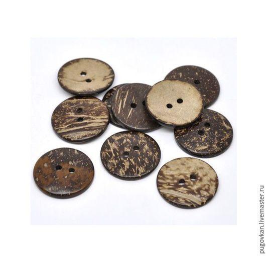 Шитье ручной работы. Ярмарка Мастеров - ручная работа. Купить Пуговицы кокосовые 38 мм. Handmade. Декоративные пуговицы, коричневый