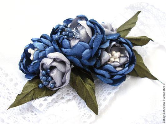 """Заколки ручной работы. Ярмарка Мастеров - ручная работа. Купить Заколка """"Синие цветы"""". Handmade. Тёмно-синий, украшения с цветами"""