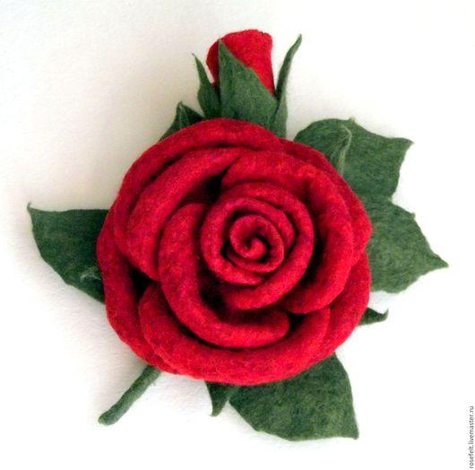Броши ручной работы. Ярмарка Мастеров - ручная работа. Купить Валяная брошь роза Королева. Handmade. Брошь-цветок
