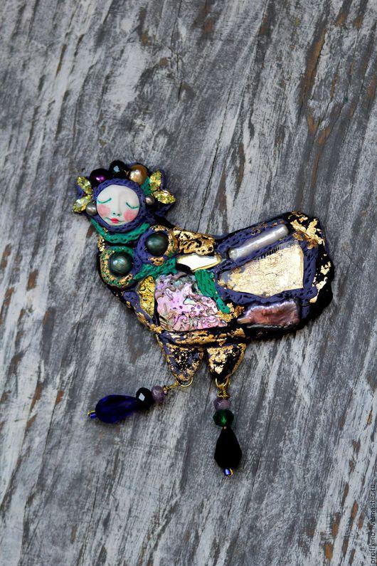 """Броши ручной работы. Ярмарка Мастеров - ручная работа. Купить брошь """"Феникс Нуар"""". Handmade. Черный, феникс птица, жемчуг"""