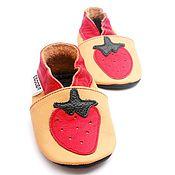 Работы для детей, handmade. Livemaster - original item Baby Moccasins, Leather Baby Shoes,Ebooba, Strawberry Red. Handmade.