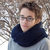 Аксессуары ручной работы. Ярмарка Мастеров - ручная работа Мужской шарф-снуд темно-синий (полушерсть). Handmade.