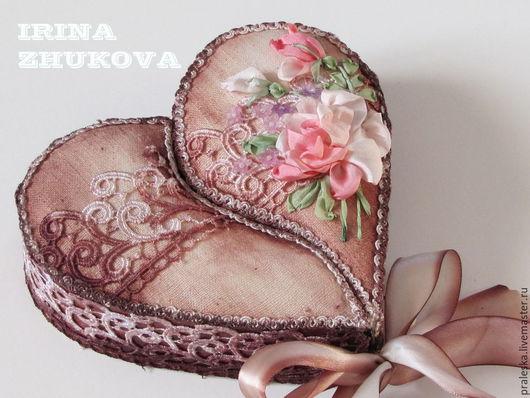 """Подарки для влюбленных ручной работы. Ярмарка Мастеров - ручная работа. Купить Шкатулка """"Кружевное сердце"""" для приятных мелочей. Handmade. Бежевый"""