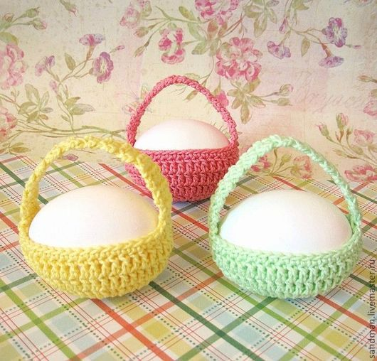 Подарки на Пасху ручной работы. Ярмарка Мастеров - ручная работа. Купить Пасхальная корзинка для яйца (вязаное лукошко для пасхального декора). Handmade.