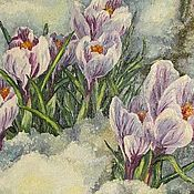 Картины и панно ручной работы. Ярмарка Мастеров - ручная работа Крокусы в снегу. Handmade.