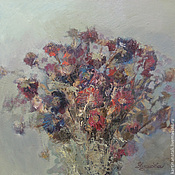 Картины и панно handmade. Livemaster - original item Oil painting Bouquet of wilted asters 38h38h cm. Handmade.