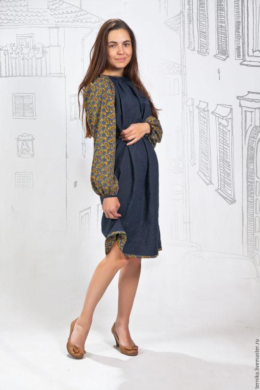 Платья ручной работы. Ярмарка Мастеров - ручная работа. Купить Платье-рубашка лён-огурчики. Handmade. Тёмно-синий, платье