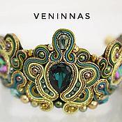 Украшения handmade. Livemaster - original item Imperial soutache bracelet, in green and gold color.. Handmade.