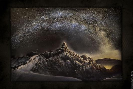 Пейзаж ручной работы. Ярмарка Мастеров - ручная работа. Купить The Mountain / Beneath Гора Млечный путь Звезды Объемная картина. Handmade.