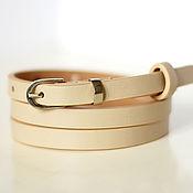 Аксессуары handmade. Livemaster - original item Leather beige belt. Handmade.