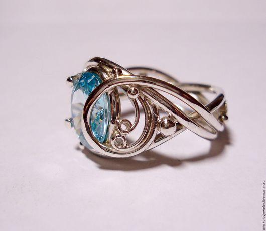 Кольца ручной работы. Ярмарка Мастеров - ручная работа. Купить Кольцо серебряное с камнем. Handmade. Филигрань, цвет аквамарин, цирконий