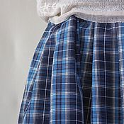 Одежда handmade. Livemaster - original item Simple skirt to the floor, pleated, blue large plaid,boho skirt.. Handmade.