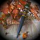 """Обереги, талисманы, амулеты ручной работы. Ярмарка Мастеров - ручная работа. Купить Шаманский оберег """"Щит-Кинжал"""", деревянный с рунами и орнаментом. Handmade."""