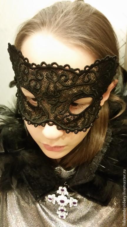 Подарки на Хэллоуин ручной работы. Ярмарка Мастеров - ручная работа. Купить маска чёрная кружевная. Handmade. Черный, маска карнавальная