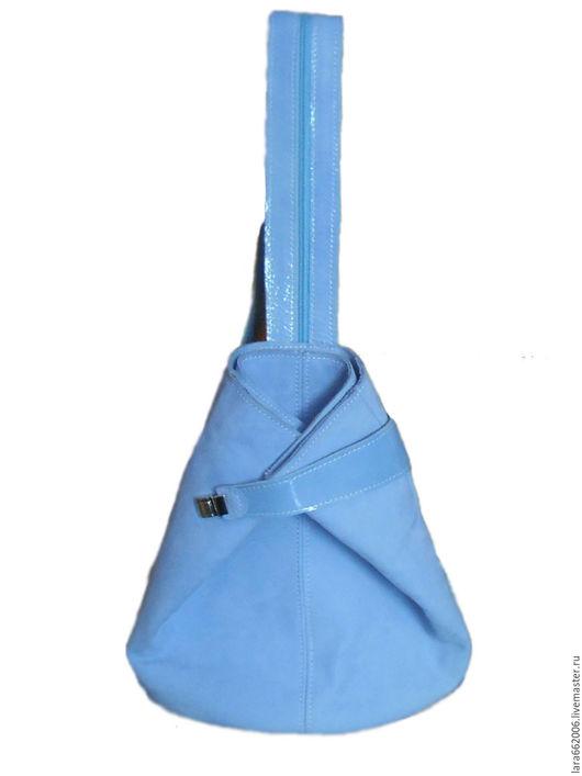Женская  кожаная сумка рюкзак  `Нежный`голубого цвета,женская сумка,кожаный рюкзак,рюкзак из кожи, сумка-рюкзак, рюкзачок, нубук, лак, натуральная итальянская кожа,