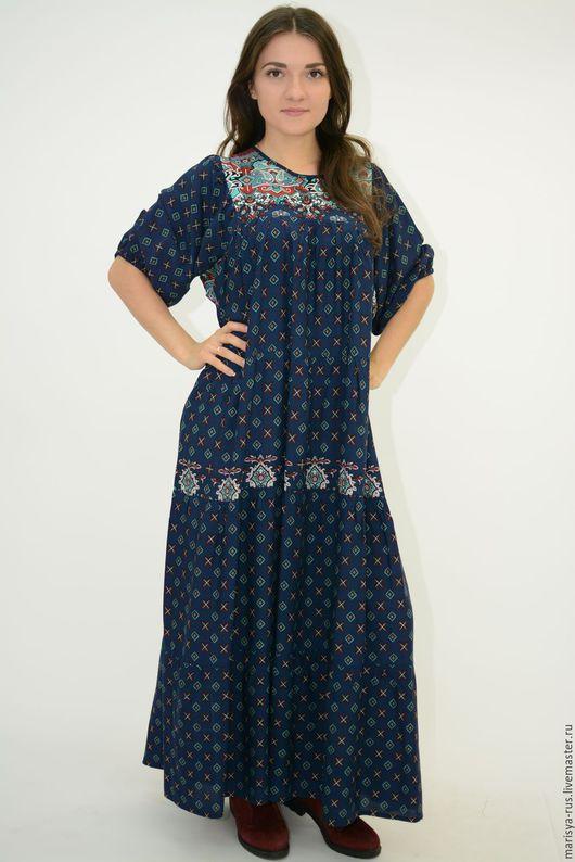"""Платья ручной работы. Ярмарка Мастеров - ручная работа. Купить Платье """"Бавария"""". Handmade. Тёмно-синий, свободное платье"""