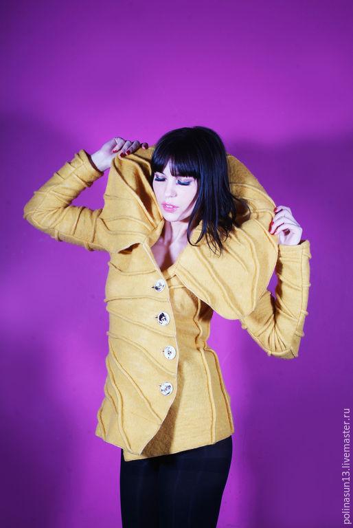 """Верхняя одежда ручной работы. Ярмарка Мастеров - ручная работа. Купить Жакет """"Шангрила"""". Handmade. Желтый, модная одежда"""