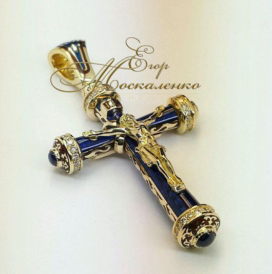 Кулоны, подвески ручной работы. Ярмарка Мастеров - ручная работа. Купить Православный  крестик из золота 750*,средний(светло-синяя эмаль). Handmade.