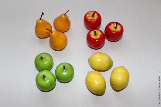 Искусственные фрукты: Груша желтая - 3,5 см Яблоко красное - 3 см Яблоко зеленое - 3 см Лимон - 4 см