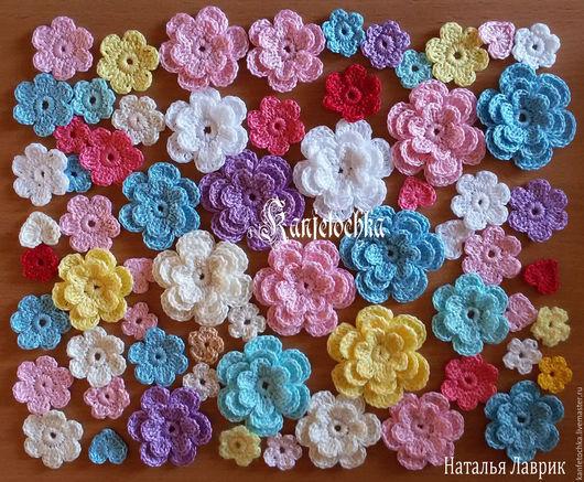 Цветы ручной работы. Ярмарка Мастеров - ручная работа. Купить Вязаные цветы. Handmade. Комбинированный, аппликации для скрапа, для украшения