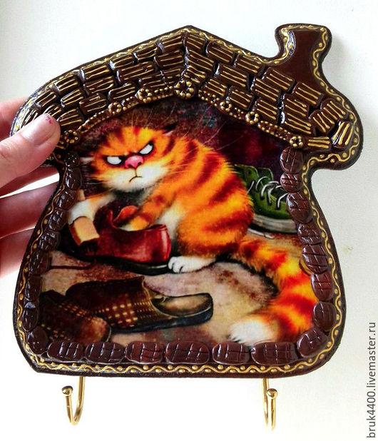 """Прихожая ручной работы. Ярмарка Мастеров - ручная работа. Купить Ключница """"Провинился кот"""". Handmade. Комбинированный, котята, Лепка, лак"""