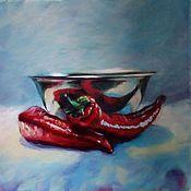 Картины и панно ручной работы. Ярмарка Мастеров - ручная работа Вечерний натюрморт с красным перцем. Handmade.