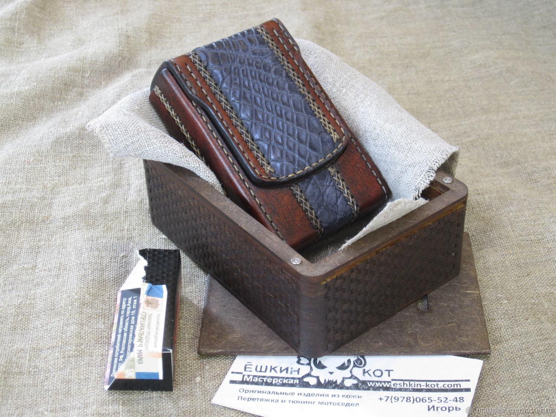 Cigarette case with crocodile insert in a gift box. Regular cigarettes, Cigarette cases, Yalta,  Фото №1