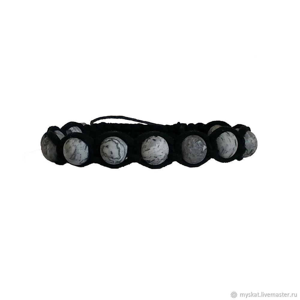 Bracelet from gray Jasper in the skin, Hard bracelet, Moscow,  Фото №1