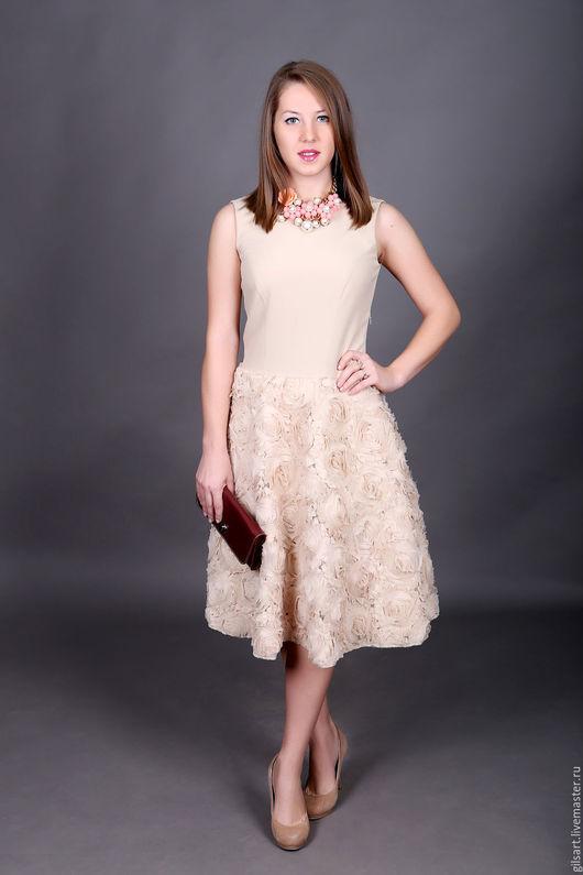 Платья ручной работы. Ярмарка Мастеров - ручная работа. Купить Платье. Handmade. Бежевый, коктельное платье, кожаный клатч