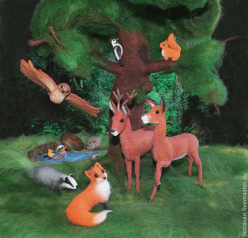 Лесные звери (сухое валяние), Войлочная игрушка, Владивосток,  Фото №1