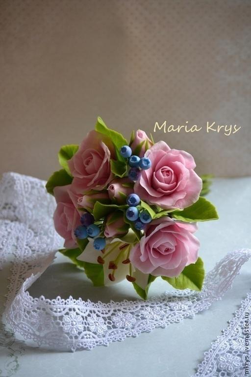 Цветы ручной работы. Ярмарка Мастеров - ручная работа. Купить Небольшой букетик из розовых роз и лилии. Handmade. Розовый, цветы