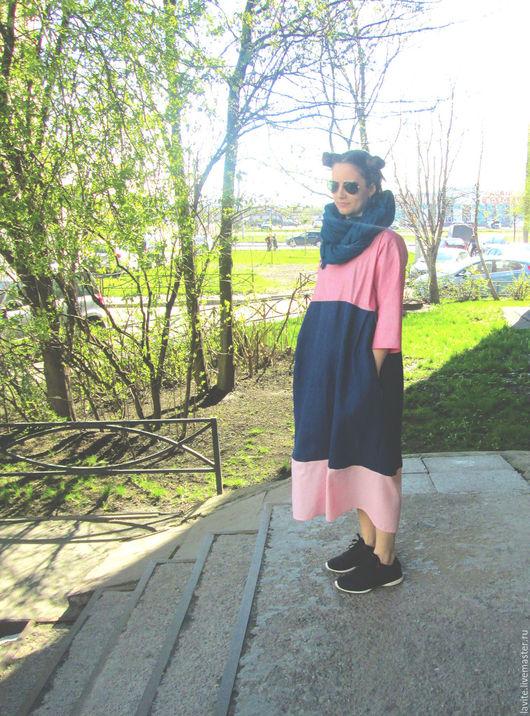 Платья ручной работы. Ярмарка Мастеров - ручная работа. Купить розовый/синий мешок. Handmade. Бледно-розовый, платье