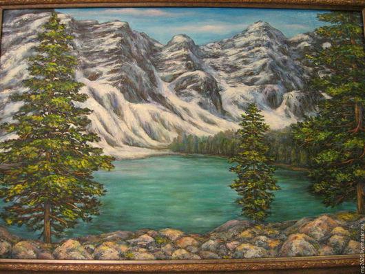 Пейзаж ручной работы. Ярмарка Мастеров - ручная работа. Купить Озеро в горах. Handmade. Тёмно-бирюзовый, пейзаж, подарок, горы