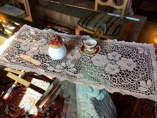 Винтажные предметы интерьера. Ярмарка Мастеров - ручная работа. Купить Старинная....ажурная....венецианская салфетка кремового цвета. Handmade. Белый