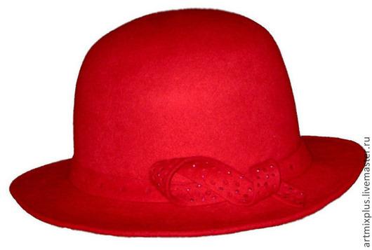 Шляпы ручной работы. Ярмарка Мастеров - ручная работа. Купить Шляпа. Handmade. Ярко-красный, шляпа женская, подарок на новый год