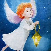Подарки к праздникам handmade. Livemaster - original item Angel with lantern greeting Card for birthday. Handmade.
