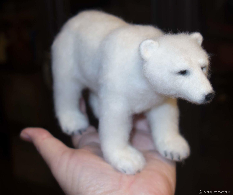 Белый медведь, реалистичная фигурка духа-помощника севера, Войлочная игрушка, Москва,  Фото №1