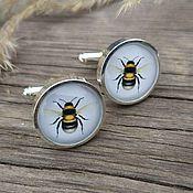Украшения handmade. Livemaster - original item Cufflinks silver plated Bee (large). Handmade.