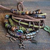 Bead bracelet handmade. Livemaster - original item Bracelet on hand BOHO-chic with Jasper and cat`s eye