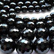 Материалы для творчества handmade. Livemaster - original item Agate black faceted beads 8,10,12,14,16mm. Handmade.