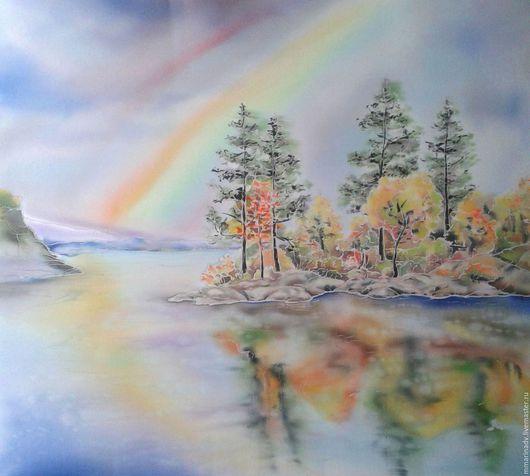 Батик картина `Осенний дождь`, шелк 100%. Авторский батик Марины Маховской.